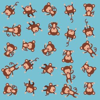 Monos lindos patrón de fondo