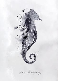 Monotipo de caballito de mar con dibujo en blanco y negro sobre papel.