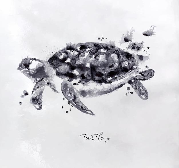 Monotipo de dibujo de tortuga con blanco y negro sobre papel.