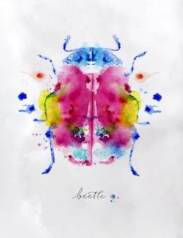 Monotipo vivo colorido escarabajo dibujo con diferentes colores sobre fondo de papel