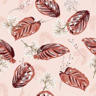 Monótono suave rosa exóticas hojas y patrón floral sin fisuras