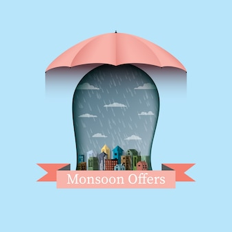 Monsoon ofrece un fondo de banner con paraguas y ciudad.