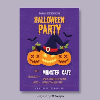 Monster cafe con cartel plano de calabazas