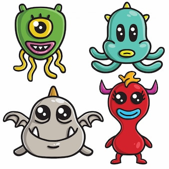Monster character design vector conjunto de dibujos animados