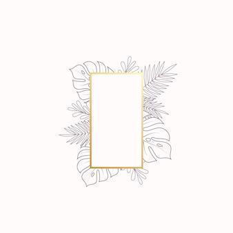 Monstera y helecho hojas tropicales banner en blanco o plantilla de etiqueta follaje abstracto con rectángulo gol ...