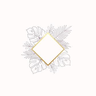 Monstera y helechos hojas tropicales banner en blanco o plantilla de etiqueta follaje abstracto con rombo dorado ...