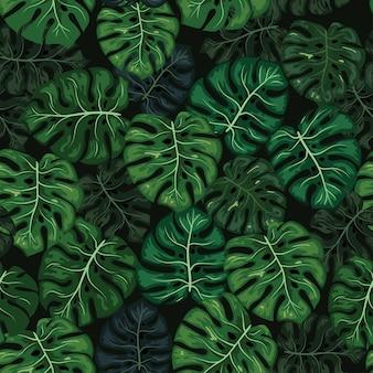 Monstera tropical leaf seamless