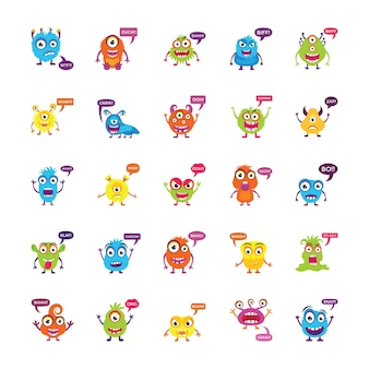 Monsters growling y screaming flat vector icons
