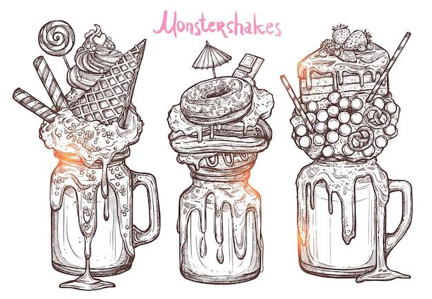 Monstershakes en estilo de dibujo gráfico
