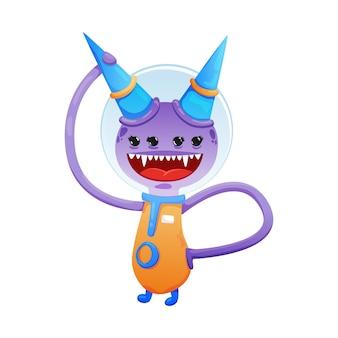 Monstruo alienígena divertido con dibujos animados de boca grande y cuatro ojos