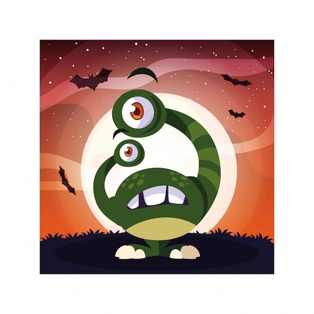 Monstruo alienígena en la noche de halloween, monstruo divertido