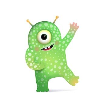 Monstruo alienígena verde con antenas saludo para niños.