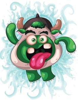 Monstruo alienígena verde lindo Vector Premium