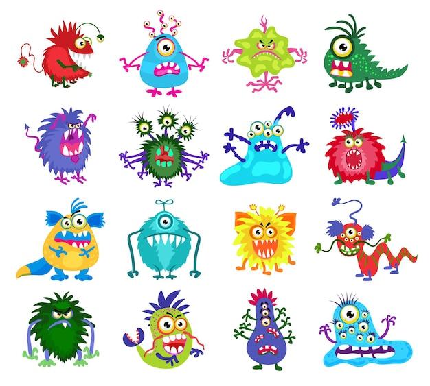 Monstruo aterrador. conjunto de monstruos de colores con dientes y ojos, ilustración de monstruos divertidos
