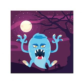 Monstruo aterrador en la noche de halloween, monstruo enojado