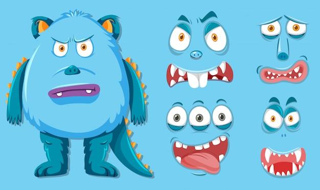 Monstruo azul con diferentes expresiones faciales.