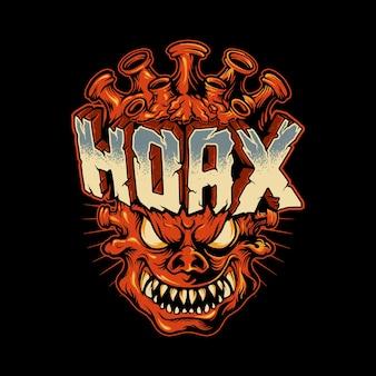 Monstruo con cabeza de coronavirus y palabra hoax