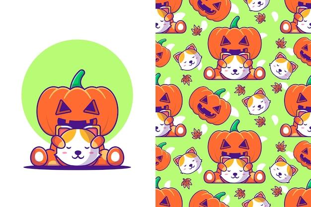 Monstruo de calabaza lindo con gato feliz halloween con patrones sin fisuras