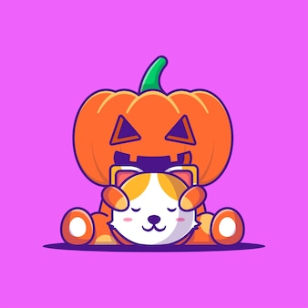 Monstruo de calabaza lindo con ilustración de dibujos animados de gato cabeza. concepto de estilo de dibujos animados planos de halloween
