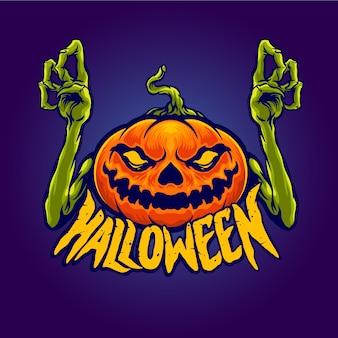Monstruo de calabaza de personaje de halloween