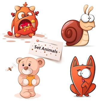 Monstruo, caracol, oso gato - personajes de dibujos animados