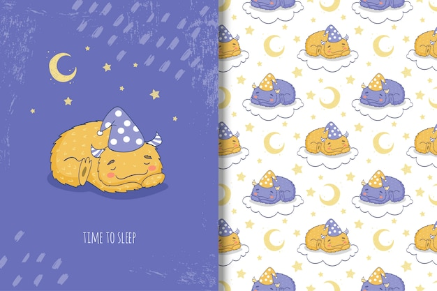 Monstruo de dibujos animados lindo durmiendo en la nube de patrones sin fisuras y tarjeta