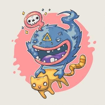 Monstruo divertido con gato.