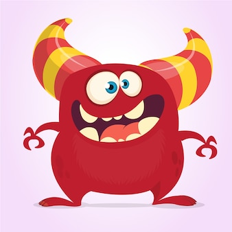 Monstruo de divertidos dibujos animados con cuernos