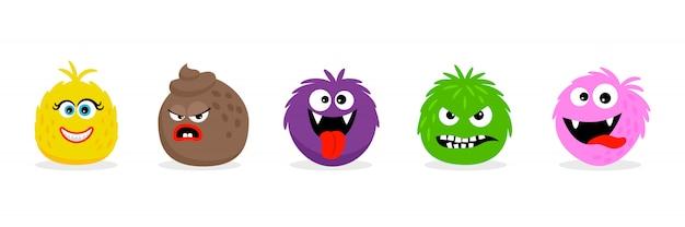 Monstruo se enfrenta a emoticones. dibujos animados gracioso enojado y sonrisa emojis de dibujos animados