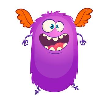 Monstruo feliz de dibujos animados volando. ilustración vectorial para halloween