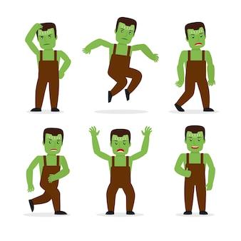 Monstruo de frankenstein en diferentes poses.