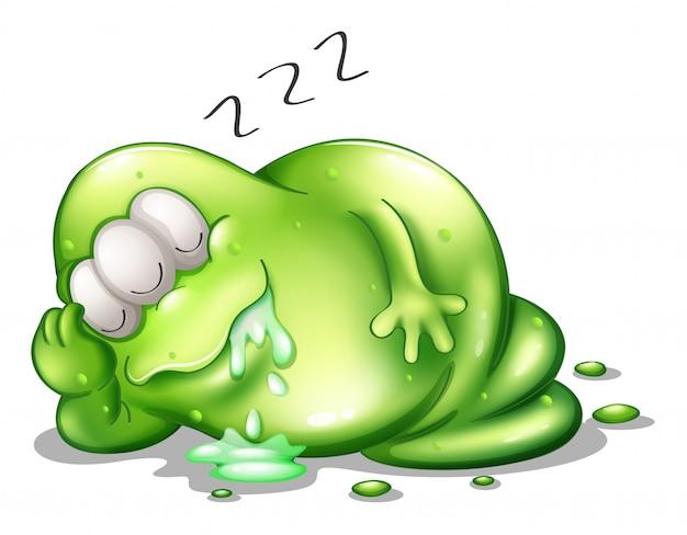 Un monstruo greenslime durmiendo