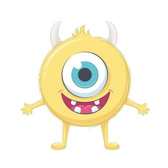 Monstruo lindo bebé amarillo