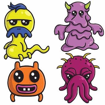 Monstruo lindo diseño vectorial conjunto de caracteres