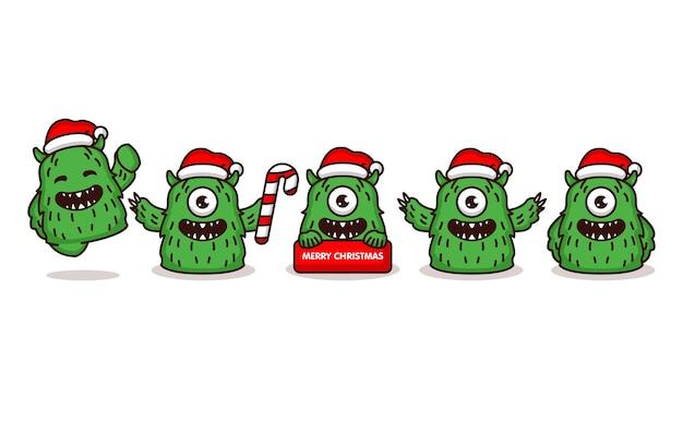 Monstruo lindo con disfraz de navidad