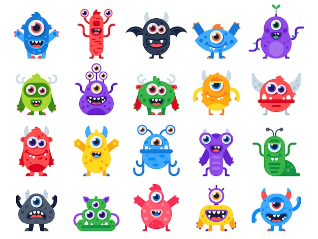 Monstruo lindo y feliz de dibujos animados. mascotas de halloween