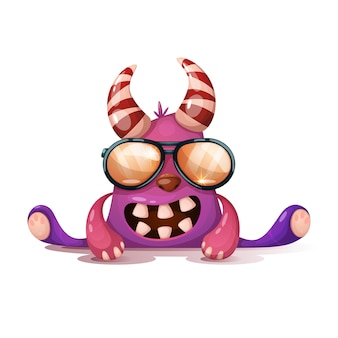 Monstruo loco en gafas de sol.