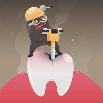 El monstruo malo está cavando y dañando el diente, vector de dibujos animados, concepto con salud dental
