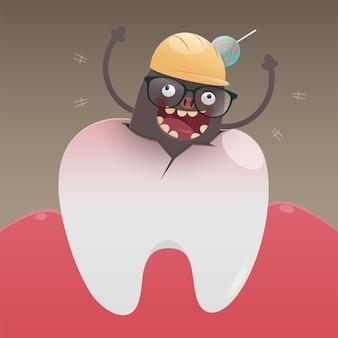El monstruo malo está cavando y dañando el diente.