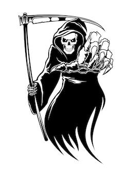 Monstruo de la muerte negra con guadaña