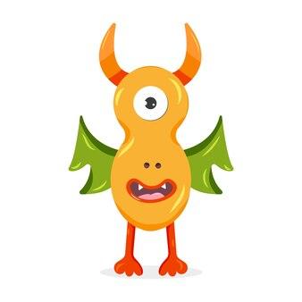 Monstruo naranja con alas verdes ilustración de vector de personaje de dibujos animados lindo para niños