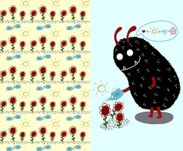 Monstruo negro lindo y flores y flores de patrones sin fisuras
