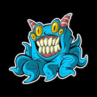 Monstruo de pulpo azul