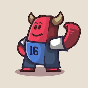 Monstruo rojo para mascota de fútbol