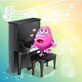 Monstruo rosa tocando el piano