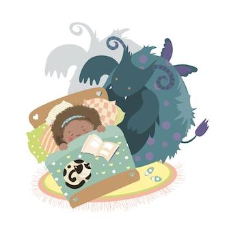 Monstruo se sienta en la cama y la niña asustada.