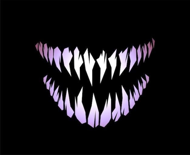 Monstruo de terror y colmillos de vampiro dientes silueta ilustración vectorial aislado sobre fondo negro