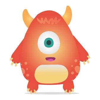 Monstruo de vector de color naranja con cuernos y un ojo.