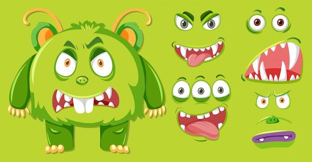 Un monstruo verde y conjunto facial.