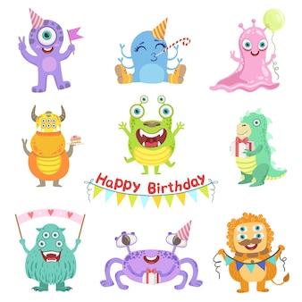Monstruos amigables con atributos de fiesta de cumpleaños